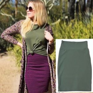 Lularoe Cassie Skirt Olive Army Green Textured XS